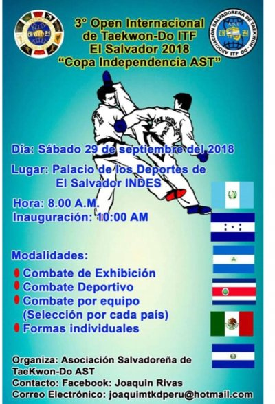 The 3rd  Open  International of  Taekwon-Do ITF  El Salvador  Independence  Cup 2018