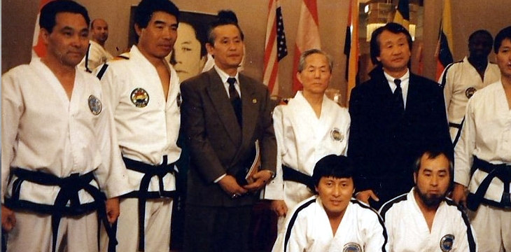 President Ri (front left) as a member of the ITF demonstration team. Standing behind President Ri is General Choi Hong Hi.