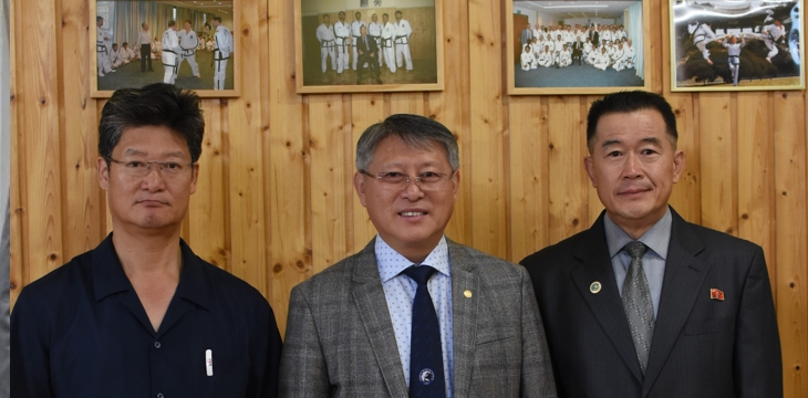 The ITF leaders: Finance and Administration Director: Master Kim Cholgyu, President: Professor Ri Yong Son, Secretary General: Professor Kim Sung Hwan